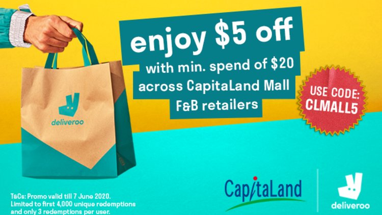 $5 off at your favourite restaurants at CapitaLand Malls